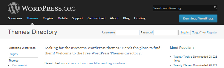 WordPress.org free and premium themes